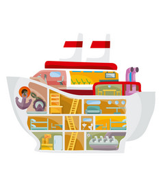 Cruise liner inside cartoon isolated object vector