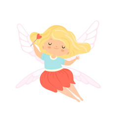 Cute little winged fairy with blonde hair vector