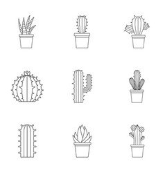Desert cactus icon set outline style vector
