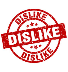 Dislike round red grunge stamp vector