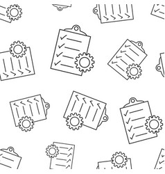document with gear seamless pattern background vector image