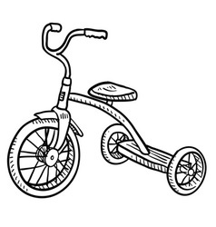 doodle tricycle vector image