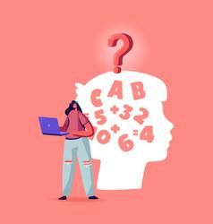 dyslexia disease diagnosis concept female vector image