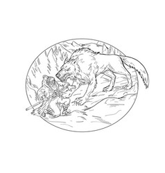 Fenrir attacking norse god odin drawing black vector