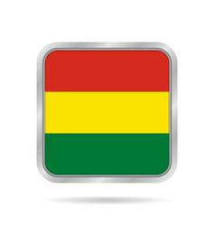 Flag of bolivia metallic gray square button vector