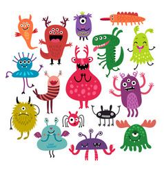 funny monsters set vector image