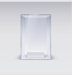 Glass showcase for presentation on white vector