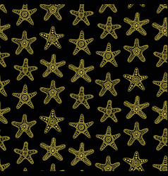 golden sea stars seamless pattern vector image