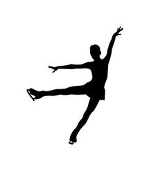 Graceful figure skater girl black silhouette vector
