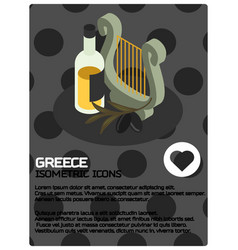 greece color isometric poster vector image