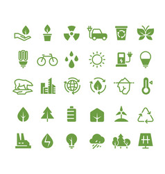 green ecology icons clean environment vector image