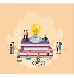 group of people with light bulb and books vector image