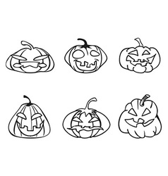 halloween pumpkin sketchy outline icons vector image