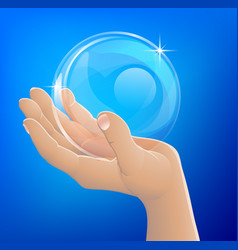 Hand holding bubble or glass ball vector