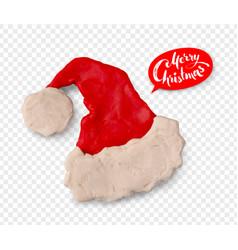 Hand made plasticine figure of santa hat vector
