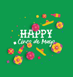 Happy cinco de mayo paper art mexican flower card vector