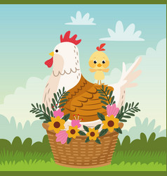 happy easter card with chicken family and flowers vector image