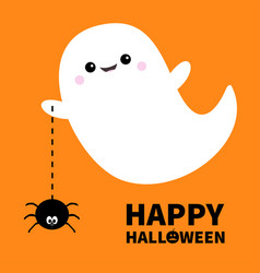 happy halloween flying ghost spirit holding vector image