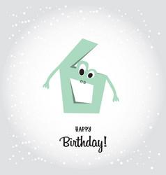 happy sixth birthday postcard blue number six vector image