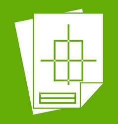 Home construction project icon green vector
