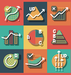 Infographic elements and diagrams icons set vector