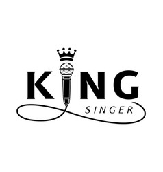 King singer logo with microphone vector