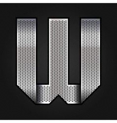 Letter metal chrome ribbon - W vector image