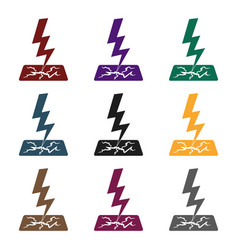 lightning bolt icon in black style isolated on vector image