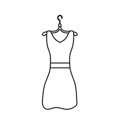 Line woman dress casual design style vector