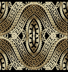 Luxury ornate gold 3d greek seamless pattern vector