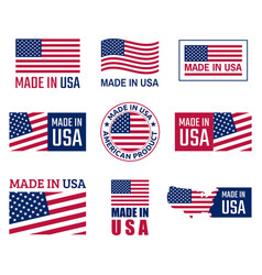 Made in the usa labels set american product vector