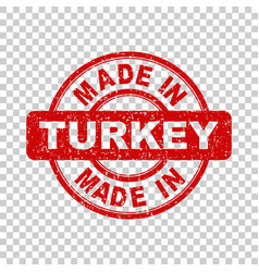 made in turkey red stamp on isolated background vector image