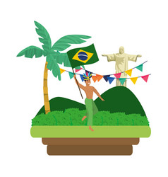 man celebrating brazil carnival vector image