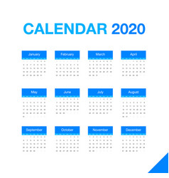 minimalistic desk calendar 2020 year design of vector image