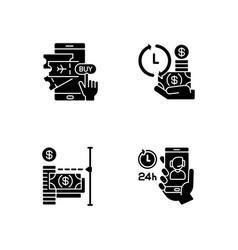 Mobile bank service app using black glyph icons vector