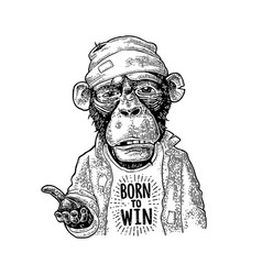 Monkeys begging lettering born to win vintage vector