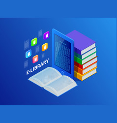 online learn or e-book library laptop computer vector image