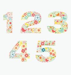Ornamental floral numbers 12345 vector