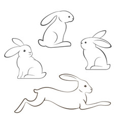 Outline rabbits and hares vector