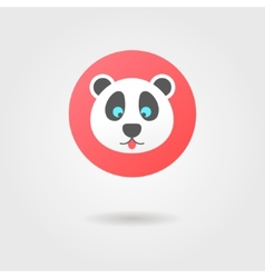 panda in the red circle with shadow vector image