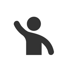 people greeting with hand up icon in flat style vector image