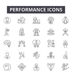 Performance line icons signs set linear vector
