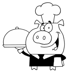 Pig waiter cartoon vector