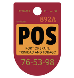 port of spain airport luggage tag vector image