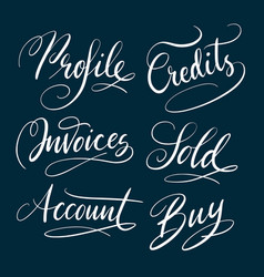 Profile and account hand written typography vector