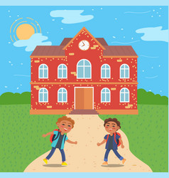 Pupils at school building exterior and kids vector