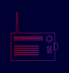radio sign line icon with vector image