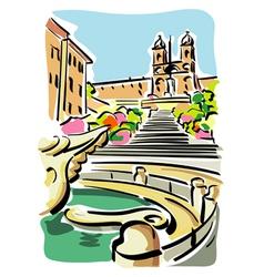 Rome Piazza di Spagna vector image