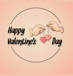 saint valentines day greeting card with hands and vector image