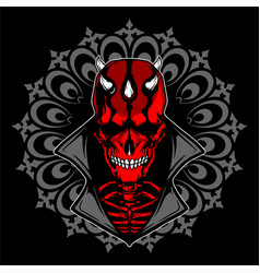 Satanic skull with horn hand drawing vector